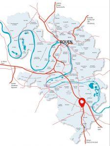 Localisation de la pépinière Le Hub 4.0 à Louviers