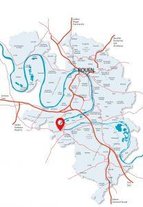 Localisation du parc Grandin Noury à Elbeuf