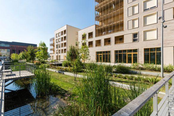 Logements et surfaces d 39 activites au pieds du pont for Alain elie architecte