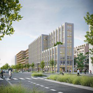 ROUEN Flaubert, un ensemble de 45 500 m² bâtis, dont 16 500 m² de bureaux.